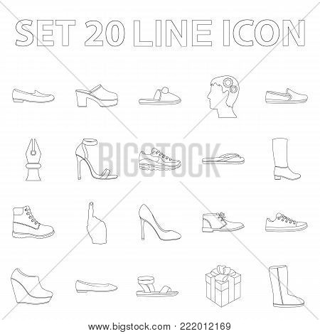 A variety of shoes outline icons in set collection for design. Boot, sneakers vector symbol stock  illustration.