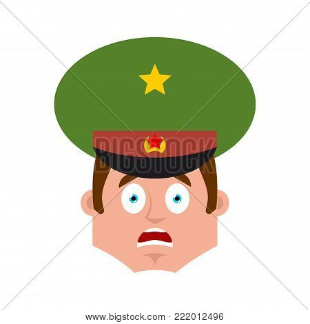 Russian Officer scared OMG emoji. Soldier Oh my God emotion avatar. Frightened Military in Russia. Illustration for 23 February. Defender of Fatherland Day. Army holiday for Russian Federation