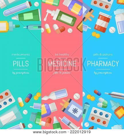 Vector cartoon pharmacy or medicines vertical banner templates. Pharmacy and medicine banner with drugs and pill background illustration