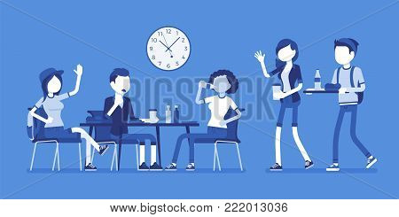 Lunch in dining room. Group of people have their meals and drink at table, meeting friends, students having a break. Vector business concept illustration with faceless characters