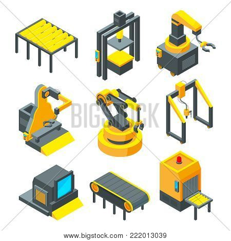 Pictures of industrial tools for factory. Equipment industrial tools machine for manufacturing. Vector illustration