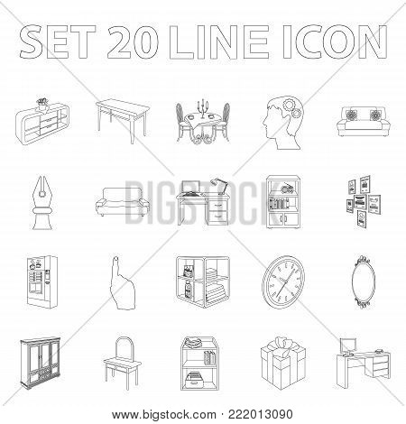 Furniture and interior outline icons in set collection for design. Home furnishings vector isometric symbol stock  illustration.