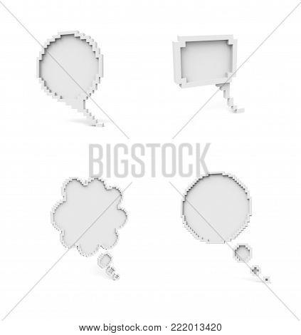 Voxel Low Poly Speech Bubble Icons - Blank Empty Speech Bubble Concept -  Isometric  3D Pixel Art for Design Project