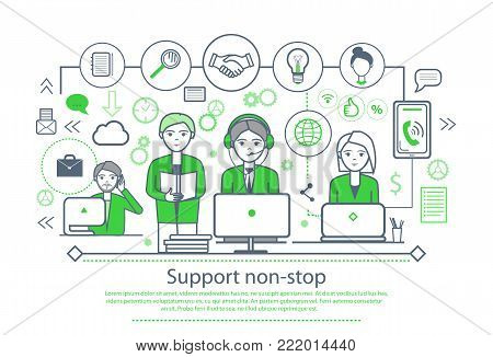 Support non-stop placard with text sample and people working on laptops, icons of briefcase and gears, phone and electric bulb vector illustration