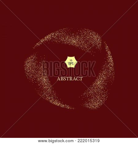 Gold glitter curve trail and starburst vector on red Background, Golden explosion of confetti. Golden grainy abstract.