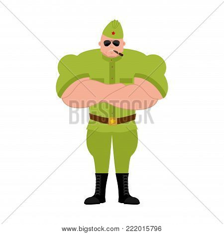 Soviet soldier Strong Cool serious. Retro Russian warrior smoking cigar emoji. strict Military in Russia. Illustration for 23 February. Defender of Fatherland Day. Army holiday for Russian Federation