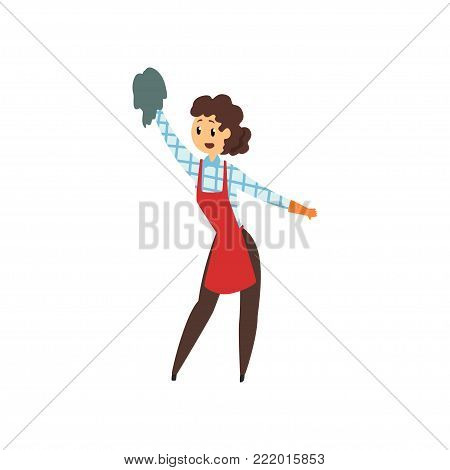 Woman cleaning house with rag. Professional cleaner in maid uniform red apron, brown pants, checkered blouse and rubber gloves. Domestic worker. Flat vector illustration isolated on white background.