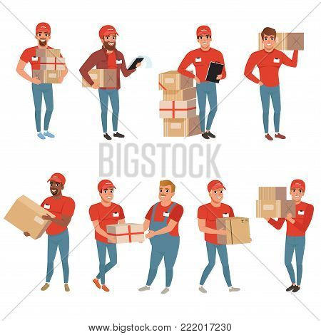 Set of postal workers in different poses. Courier or delivery service concept. Cartoon men characters with parcels packages boxes. Cheerful people in red working uniform. Flat vector illustration.