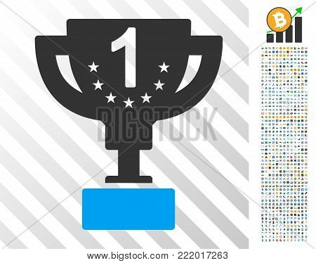 First Prize pictograph with 700 bonus bitcoin mining and blockchain pictures. Vector illustration style is flat iconic symbols design for crypto-currency software.