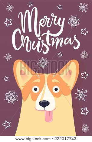 Merry Christmas greeting card cute dog with tongue hanging out on foreground and snowflakes and stars on liliac background, vector illustration