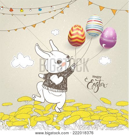 Lovely baby rabbit dressed in jumper holding colorful eggs on threads, floral field, flag garlands and Happy Easter inscription handwritten with elegant calligraphic font. Holiday vector illustration.