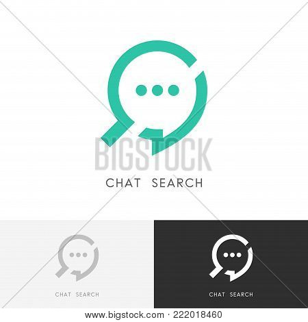 Chat search logo - dialogue or message and loupe or magnifier symbol. Business, conversation and discussion vector icon.