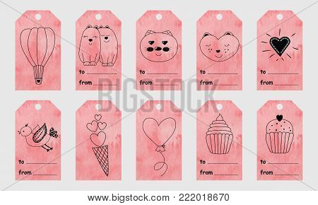 Pink watercolor greeting tags with cute hand drawn elements for Valentine's Day.Set of holiday stamps, tags, badge ,pins, stickers, greeting cards, templates.Vector seasonal design.Heart ,sweets and cute characters