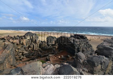Beautiful ancient gold mill ruins on the coast