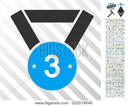 Third Medal icon with 7 hundred bonus bitcoin mining and blockchain pictures. Vector illustration style is flat iconic symbols design for cryptocurrency websites.
