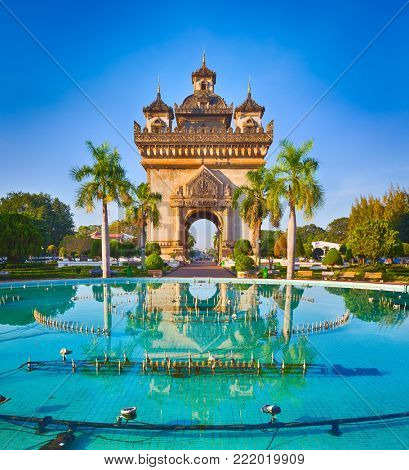 Patuxay monument or Gate of Triumph in Vientiane, Laos