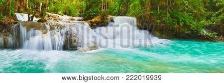 Tat Kuang Si Waterfalls. Beautiful panorama landscape. Luang Prabang, Laos.