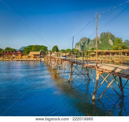 Beautiful view of a bamboo bridge.Vang Vieng. Laos landscape.
