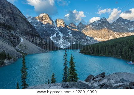 Sunrise at Moraine lake in Canadian Rockies, Banff National Park, Canada.