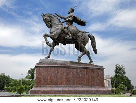 Tamerlane monument in Tashkent, capital of Uzbekistan