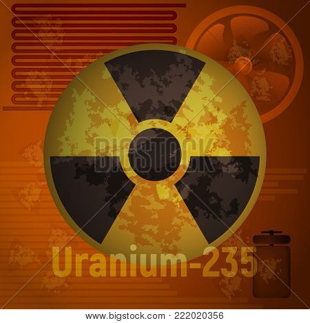 Sign of radiation. Uranium 235. Orange abstract background. Vector illustration. Toxic waste.