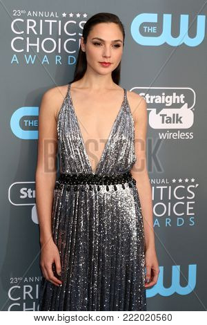 LOS ANGELES - JAN 11:  Gal Gadot at the 23rd Annual Critics' Choice Awards at Barker Hanger on January 11, 2018 in Santa Monica, CA