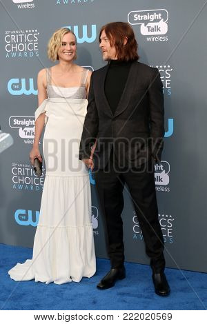 LOS ANGELES - JAN 11:  Diane Kruger, Norman Reedus at the 23rd Annual Critics' Choice Awards at Barker Hanger on January 11, 2018 in Santa Monica, CA