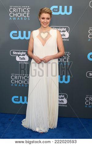 LOS ANGELES - JAN 11:  Greta Gerwig at the 23rd Annual Critics' Choice Awards at Barker Hanger on January 11, 2018 in Santa Monica, CA