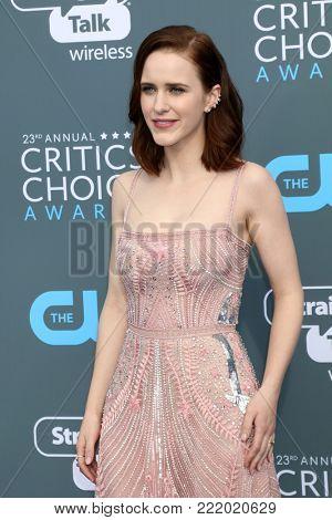 LOS ANGELES - JAN 11:  Rachel Brosnahan at the 23rd Annual Critics' Choice Awards at Barker Hanger on January 11, 2018 in Santa Monica, CA