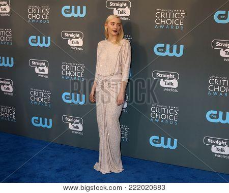 LOS ANGELES - JAN 11:  Saoirse Ronan at the 23rd Annual Critics' Choice Awards at Barker Hanger on January 11, 2018 in Santa Monica, CA