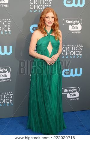LOS ANGELES - JAN 11:  Jessica Chastain at the 23rd Annual Critics' Choice Awards at Barker Hanger on January 11, 2018 in Santa Monica, CA