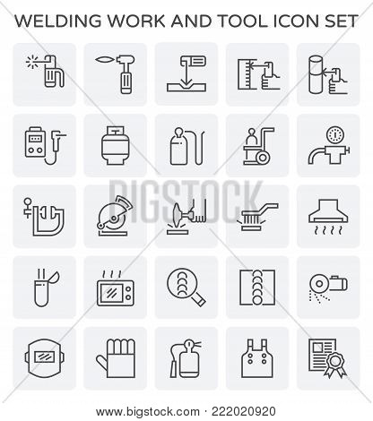 Welding work and tool icon set on white.