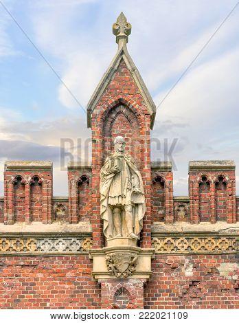 Kaliningrad, Russia - July 31, 2017: Statue of a great komtur of Friedrich von Zollern on Friedland Gates of Konigsberg.