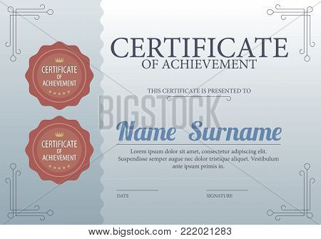 Classic Blue Blank Certified Border Template Luxury Background Vector Illustration. EPS 10