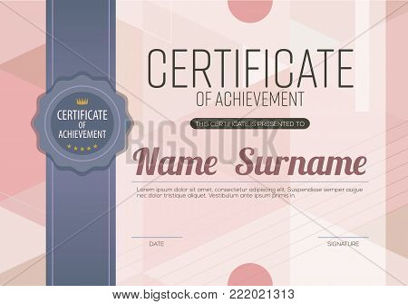 Modern Pink Blank Certified Border With Dark Blue Stripe Ribbon Template Luxury Background Vector Illustration. EPS 10