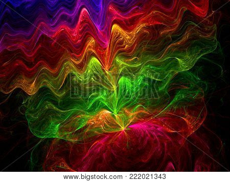 Abstract Transparent Wavy Veil Computer Generated Background - Fractal Art