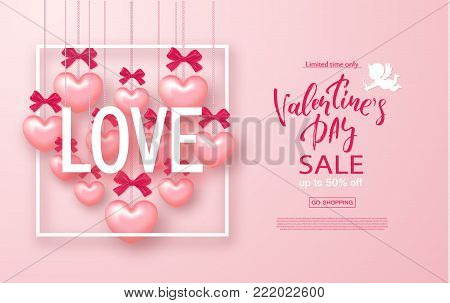 Valentines day sale banner. Beautiful Background with Hearts and bows. Vector illustration for website , posters, email and newsletter designs, ads, coupons, promotional material