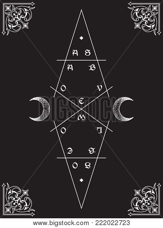 As above, so below. Sacred geometry, waxing and waning crescents. Inscription is a maxim in hermeticism and sacred geometry. Tattoo, poster or Shadow Book cover design vector illustration.
