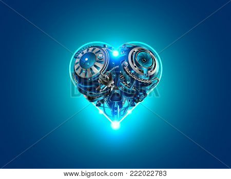 Background card Valentine's day in style, technology, robots, industry, cybernetics and science. Mechanical heart, metal mechanism in the form of heart on a blue background lights up.