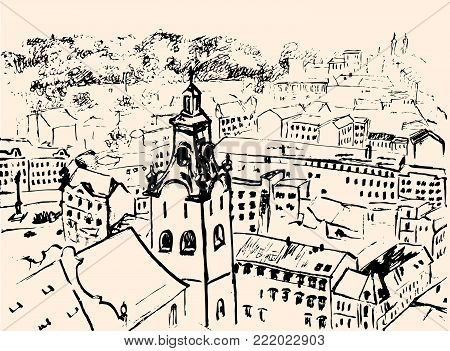 Old city. Lvov view. Graphic drawing. Vector illustration