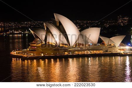 Close-up View Of Sydney Opera House  At Night