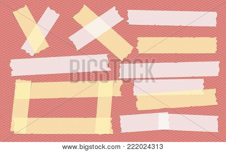 Yellow and white different size adhesive, sticky, masking, duct tape, paper pieces on red squared background