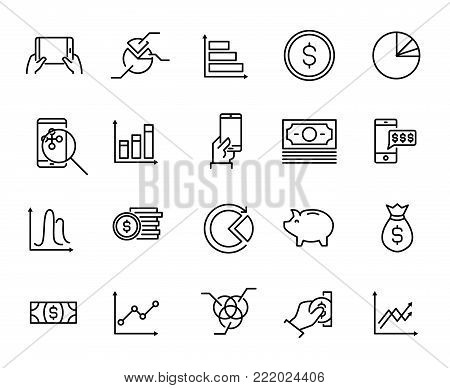 Simple collection of personal budget related line icons. Thin line vector set of signs for infographic, logo, app development and website design. Premium symbols isolated on a white background.