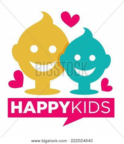 Kids zone logo template of child palm hands smiling face smiles and letters. Vector icon for kindergarten or children playground and education school classroom or family entertainment place