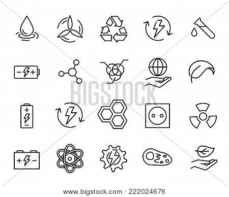 Simple collection of green energy related line icons. Thin line vector set of signs for infographic, logo, app development and website design. Premium symbols isolated on a white background.