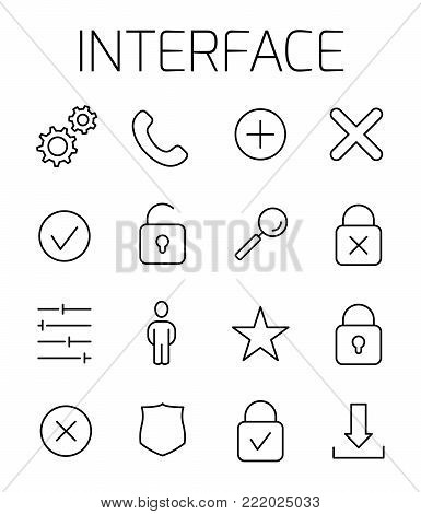 Interface related vector icon set. Well-crafted sign in thin line style with editable stroke. Vector symbols isolated on a white background. Simple pictograms.