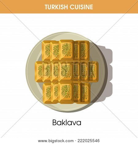 Sweet delicious Baklava on plate from Turkish cuisine isolated cartoon flat vector illustration on white background. Oriental dessert made of puff pastry, delicious honey and ground nuts on top.