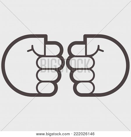 Two hand clenched into a fist. A symbol of struggle, confrontations or resistance. vector illustration