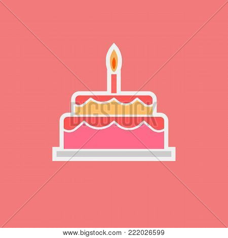Cherry cake illustration with a candle. Sweets icon