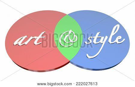 Art and Style Visual Graphic Design Venn Diagram 3d Illustration